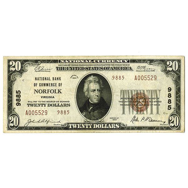 Virginia. National Bank of Commerce of Norfolk. Series of 1929. T2, Charter# 9885 Issued Note.