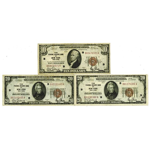 Federal Reserve Bank of New York. 1929. Lot of 3 Issued National Currency Notes.