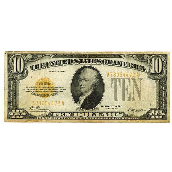 Gold Certificate. Series of 1928. $10, Fr.# 2400, Issued Note.