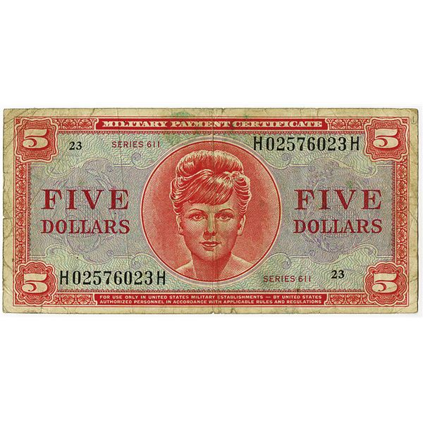 U.S. Military Payment Certificate, Series 611, ND (1964) Issue Note.