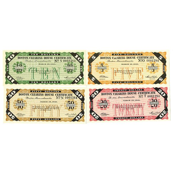 """Boston Clearing House, 1933, Quartet of Certificates with Matching Serial Numbers """"0001284""""."""
