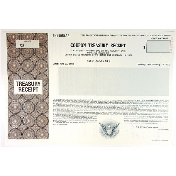 U.S. Coupon Treasury Receipt, 1988 Specimen