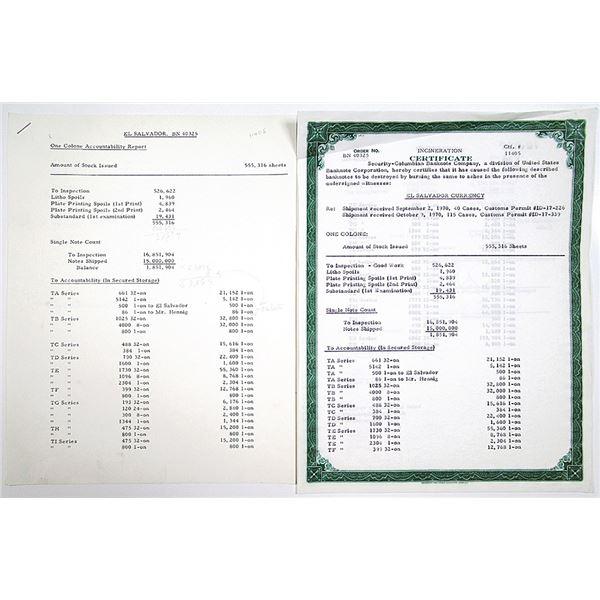 El Salvador Currency, 1970 Security-Columbian Banknote Company Incineration Certificate.