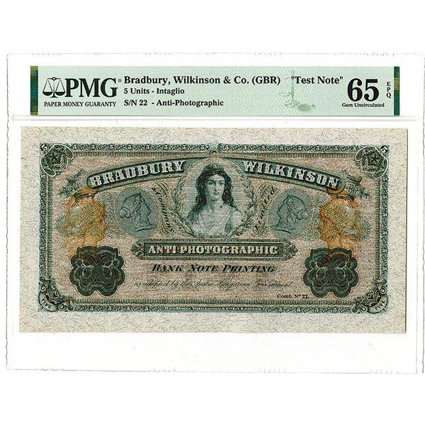 Bradbury Wilkinson & Co., ca. 1860's Anti-Photographic Bank Note Printing Advertising Note.