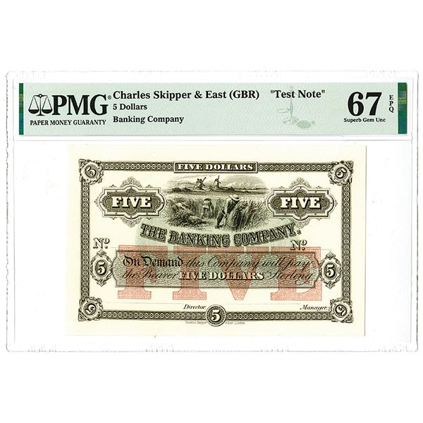 The Banking Company, ND (ca.1860-70's) $5 Test Note,