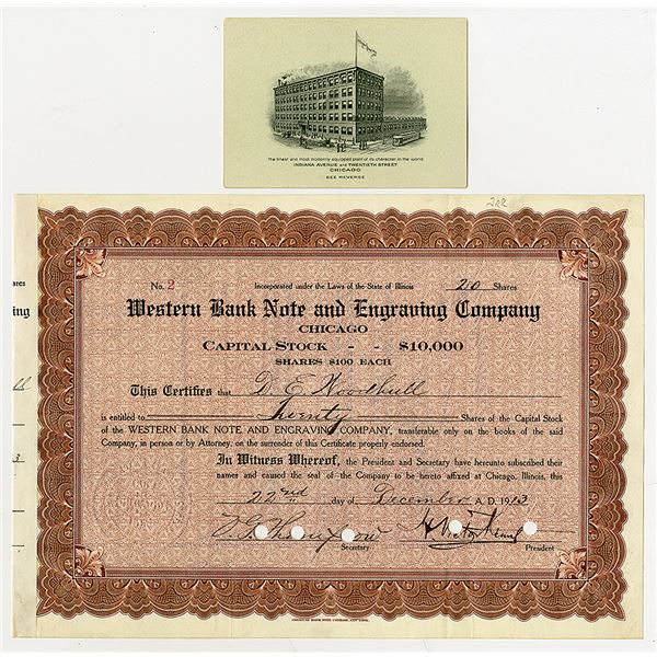 Western Bank Note & Engraving Co., 1913 I/C Stock Certificate #2 with ca.1900-20's WBNC Business Car