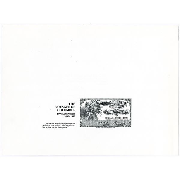 World Columbian Exposition, Voyages of Columbus 1893 (Reprinted in 1992) Progress Proof Ticket from