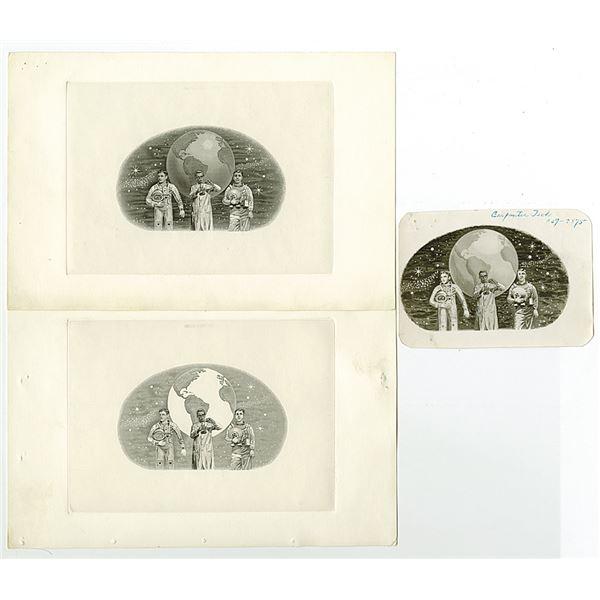 Carpenter Tech Progress Proof Vignette Trio, ca.1960-70's.