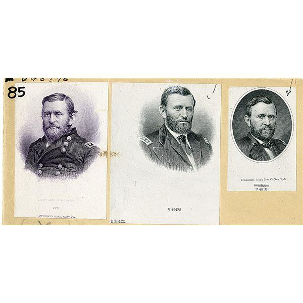 Ulysses S. Grant Trio of Vignette Proofs ca,1870-80s.