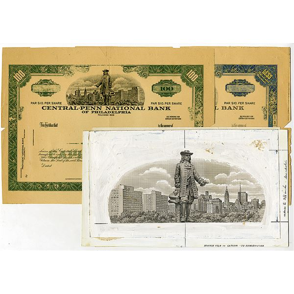 Central Penn National Bank  of Philadelphia with Original Artwork of William Penn Atop Philadelphia