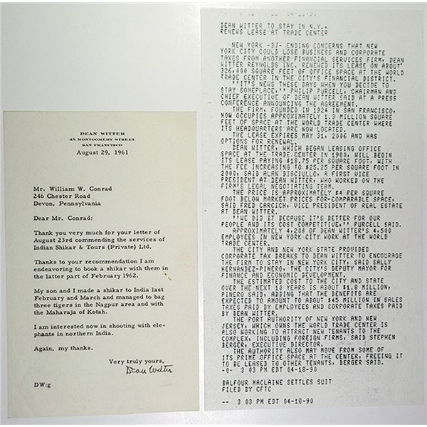 Dean G. Witter 1961 Letter with News Bulletin from 1990 Stating they will stay in the World Trade Ce