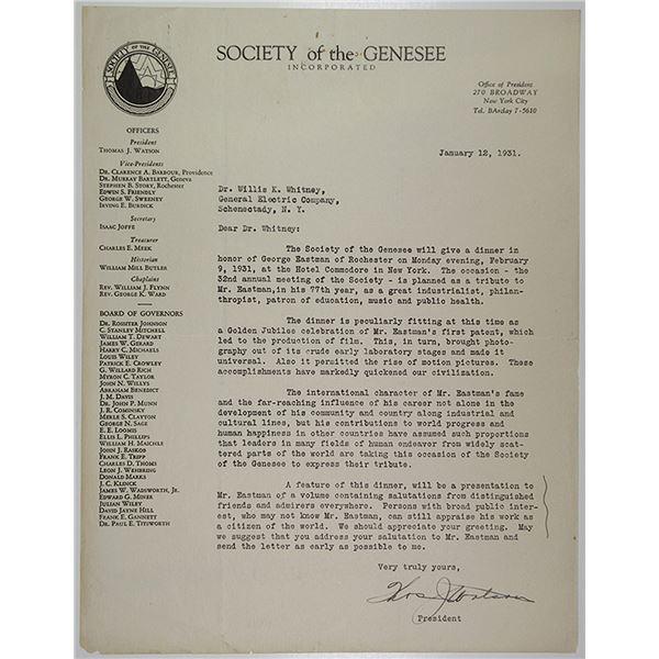 Letter from Thomas J. Watson to Willis K. Whitney Regarding George Eastman, 1931