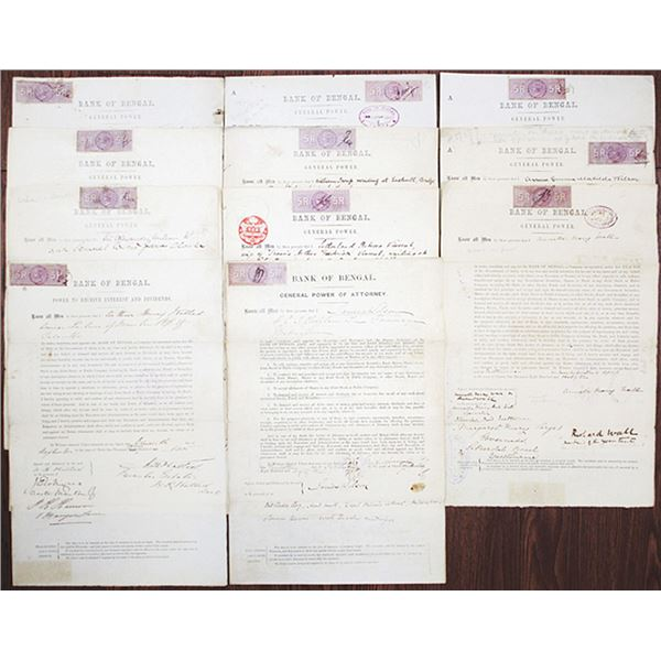Bank of Bengal Group of 11 General Power (of Attorney) Documents, ca. 1880s-1900s to sell Bank Share
