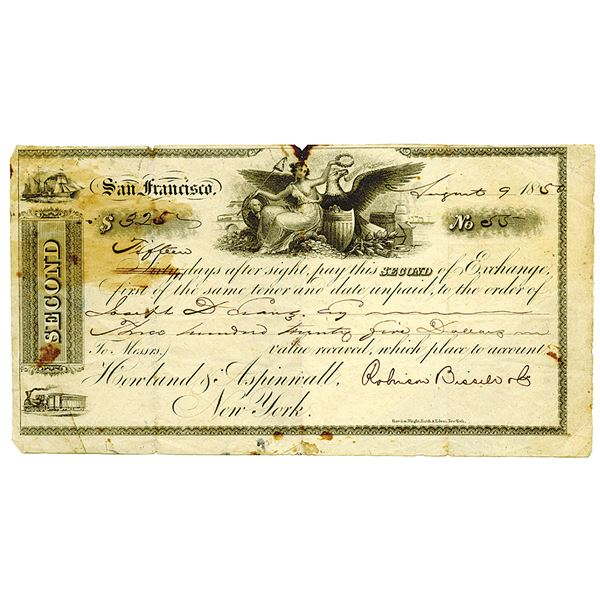 California Gold Rush Era, 1850 I/U 2nd Bill of Exchange Issued in San Francisco and Payable in NY On