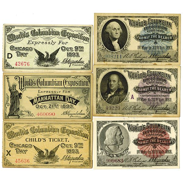 World's Columbian Exposition. 1893. Lot of 6 Admission Tickets.