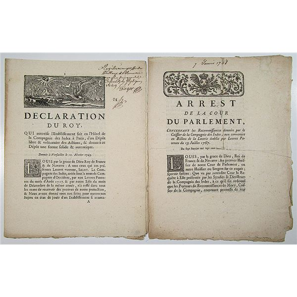 French East India Company Lot of 2 Pamphlet-Documents, 1749 and 1767 Pair.