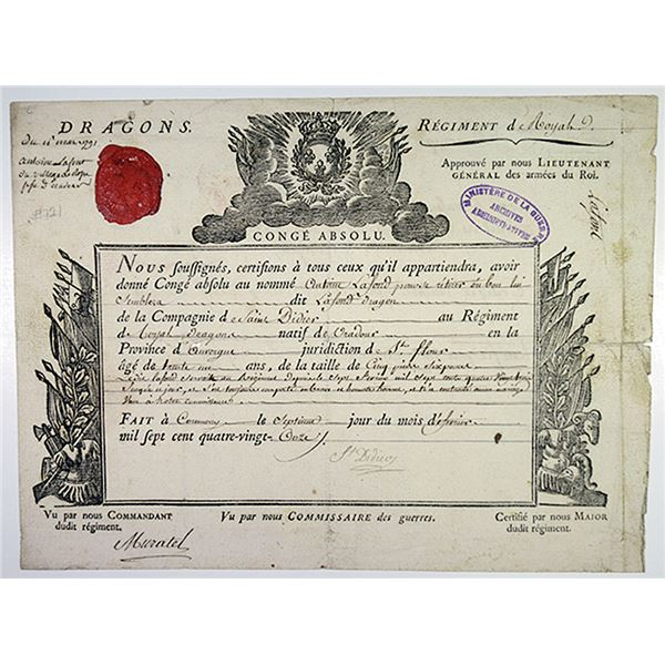 French Ministry of War 1791 Discharge Certificate