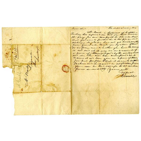 War of 1812 Letter written in 1814 Letter Regarding Payment for Soldier in the War.