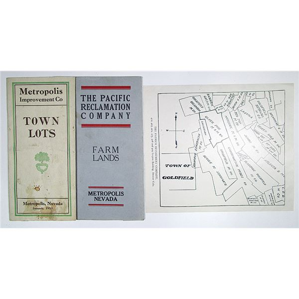 Metropolis, Nevada ca. 1913 Town Lots and Farm Lands Pamphlet Pair & Goldfield Town Map