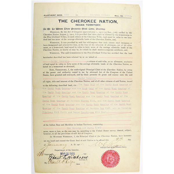 The Cherokee Nation, Indian Territory, 1905 Allotment Deed for 40 acres of Cherokee Nation lands in