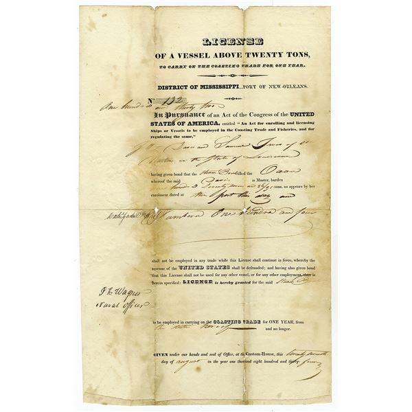 Port of New Orleans, (District of Mississippi), 1834 Steamboat License of a Vessel Above Twenty Tons