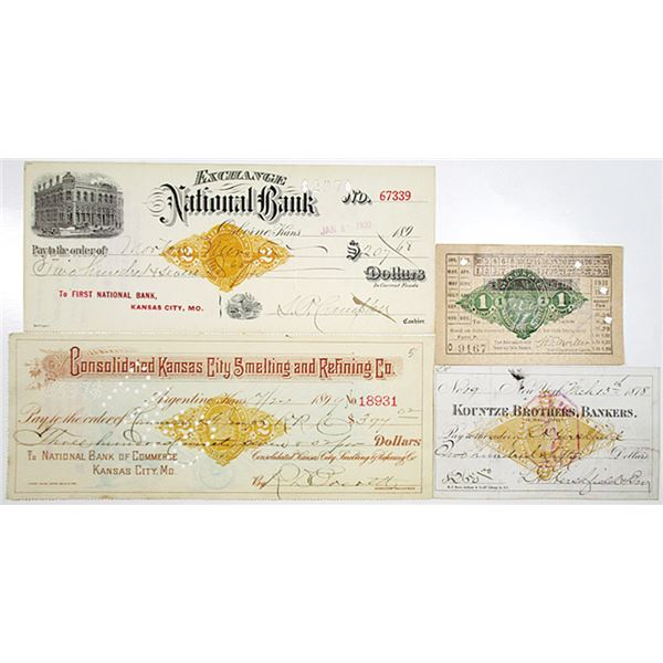 Imprinted Revenues on Bank Checks, Drafts and a Pere Marquette Parlor Car Ticket, ca. 1878-1902 Asso
