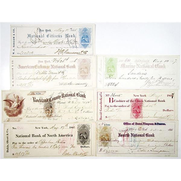 New York Bank Checks, 1866-1867 With Various Color I.R. RN-B Varieties.