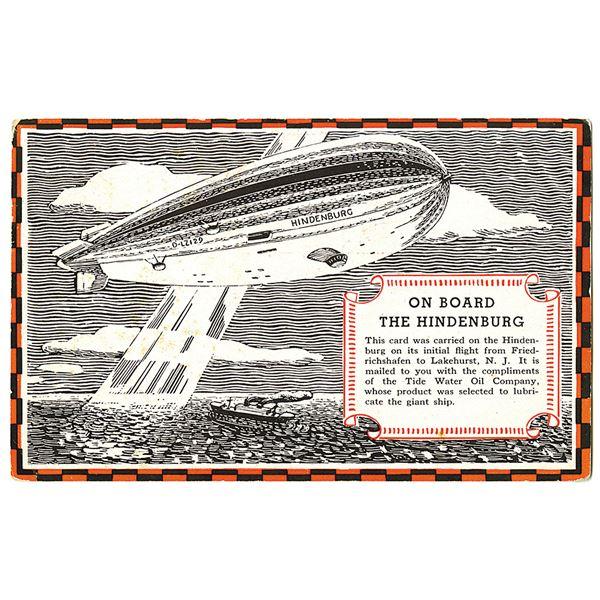 Hindenburg Advertising First flight Cover from Friedrichshafen, Germany to Lakehurst, NJ., Dated Apr