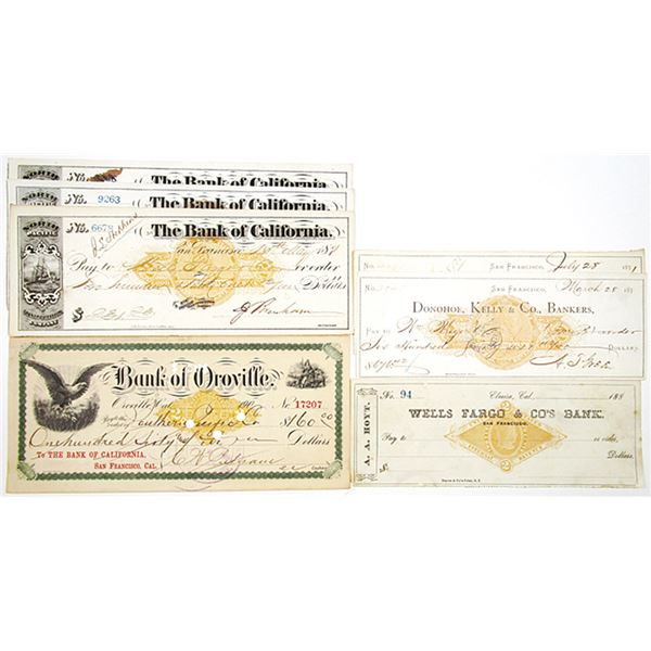 California Bank Check Assortment with Imprinted Revenues, ca. 1870-1901