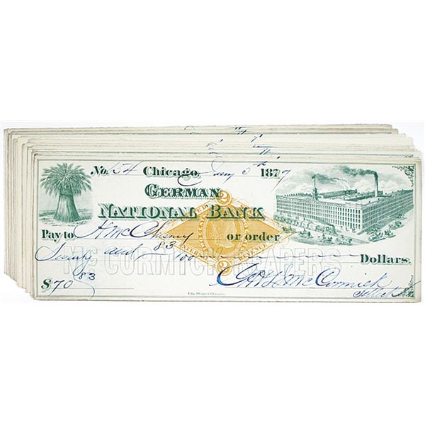 German National Bank I/C Check Group of 19 from Mc Cormick Reapers, 1876-1877