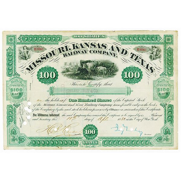 Missouri, Kansas and Texas Railway Co. 1880 Issued Stock Certificate Signed by Jay Gould as Presiden