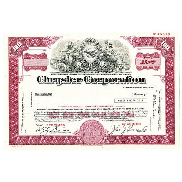 Chrysler Corp., 1960-70's Specimen Stock Certificate
