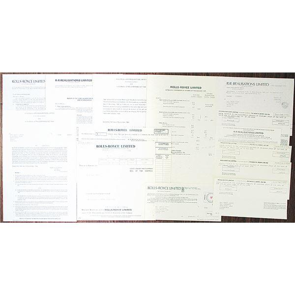Rolls-Royce Ltd. 1979 Liquidation Documents Group Lot, 1971-1982