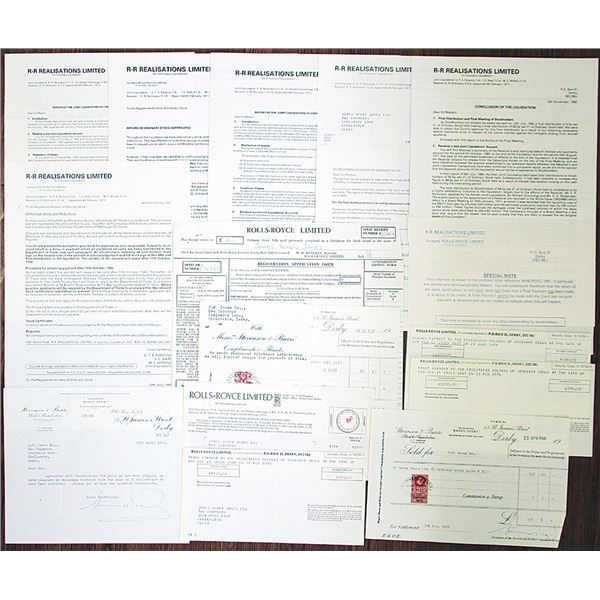 Rolls-Royce Ltd. Liquidation Documents Group Lot, 1964-1982