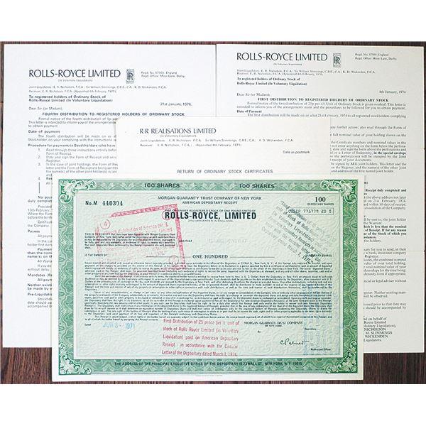 Rolls-Royce Ltd. Stock Certificate and Liquidation Documents, 1971-1976