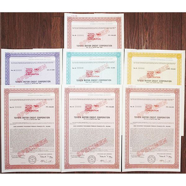 Toyota Motor Credit Corp., 1992 Specimen Bond Group of 7