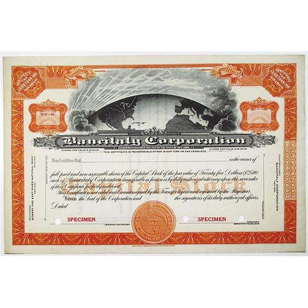 Bancitaly Corp., 1919 Specimen Stock Certificate, In 1928 it Acquired Bank of America