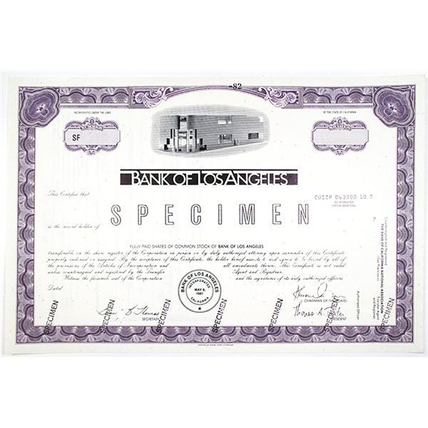 Bank of Los Angeles, 1981 Specimen Stock Certificate