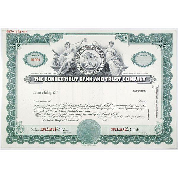 Connecticut Bank and Trust Co., 1930-50's Specimen Stock Certificate