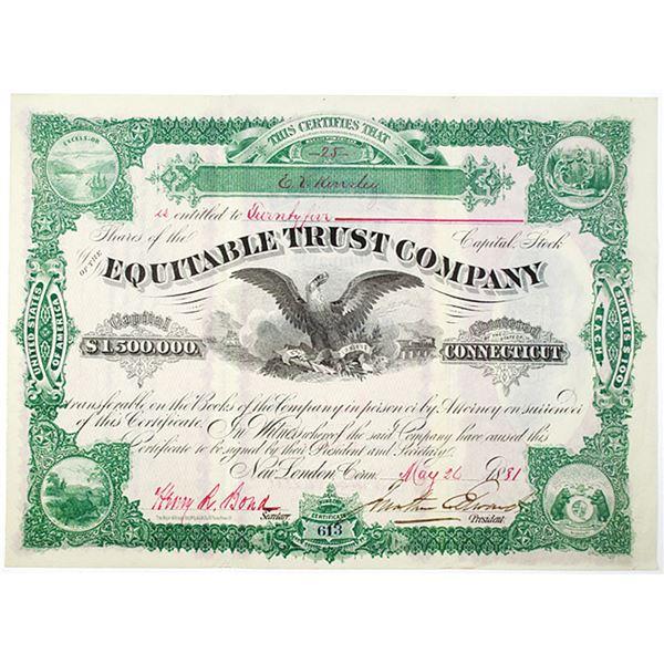 Equitable Trust Co. 1881 I/U Stock Certificate