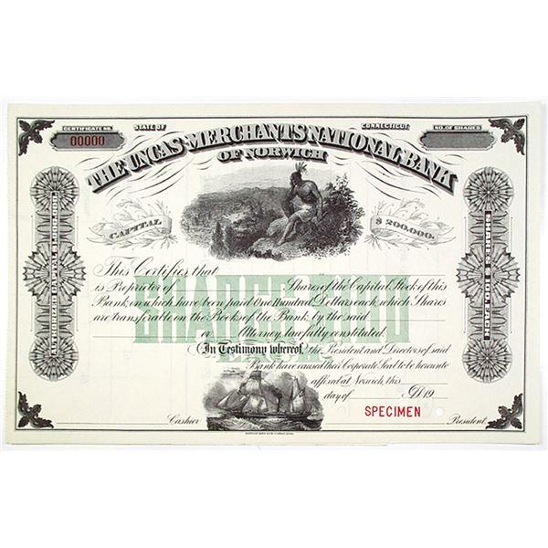 Uncas-Merchants National Bank of Norwich, ca.1900-20's, Specimen Stock Certificate