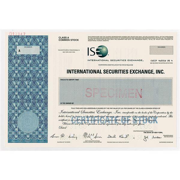 """International Securities Exchange, Inc., """"ISE"""" 2005 Specimen Stock Certificate"""