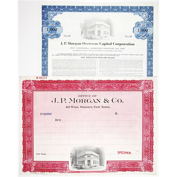 J.P. Morgan Specimen Stock and Bond Pair, ca.1920 and 1972