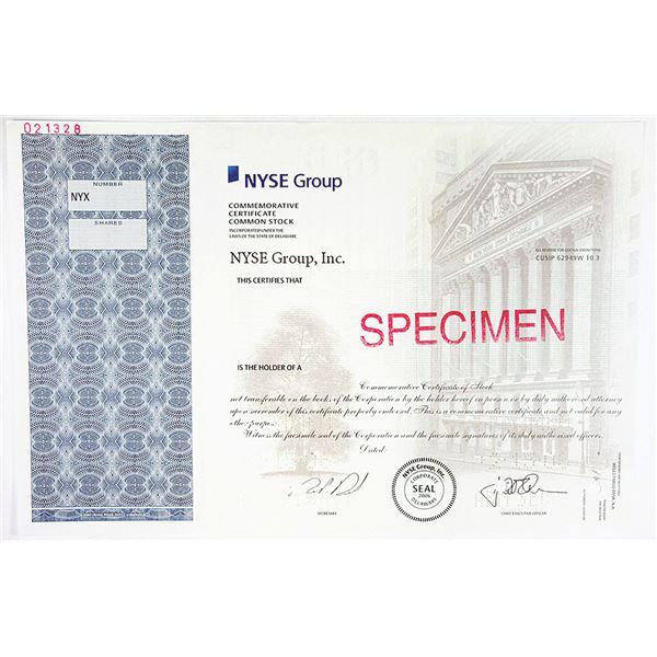 NYSE Group, Inc. 2006 Specimen Commemorative Stock Certificate