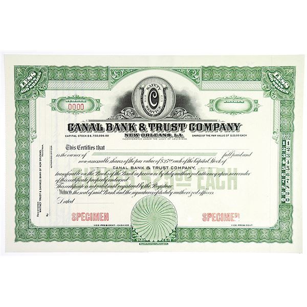 Canal Bank & Trust Co., ca.1900-1910 Specimen Stock Certificate