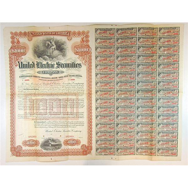 United Electric Securities Co., 1921 Specimen Bond