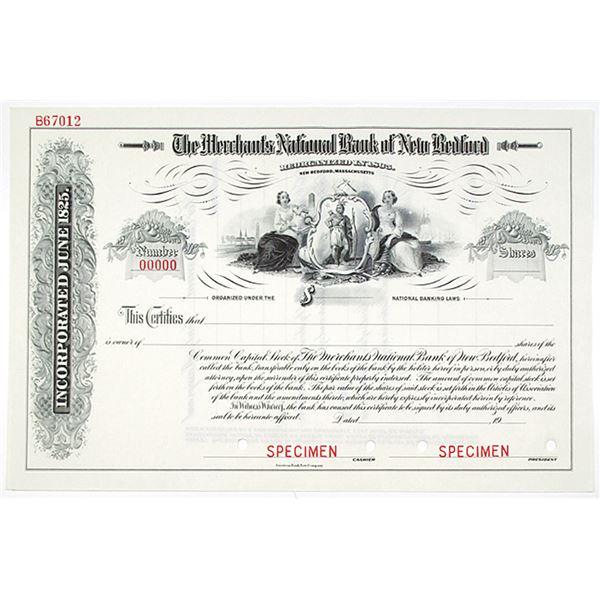 Merchants National Bank of New Bedford, 1900-1920 Specimen Stock Certificate
