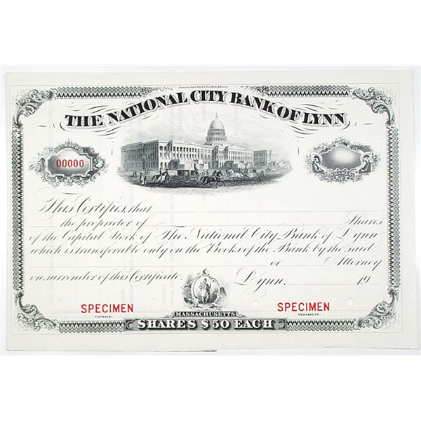 National City Bank of Lynn, 1900-1920 Specimen Stock Certificate