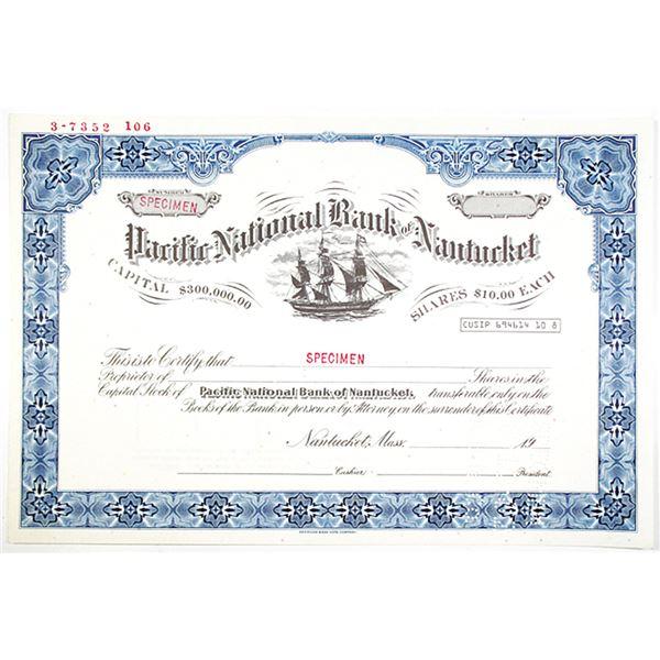 Pacific National Bank of Nantucket, 1982 Specimen Stock Certificate