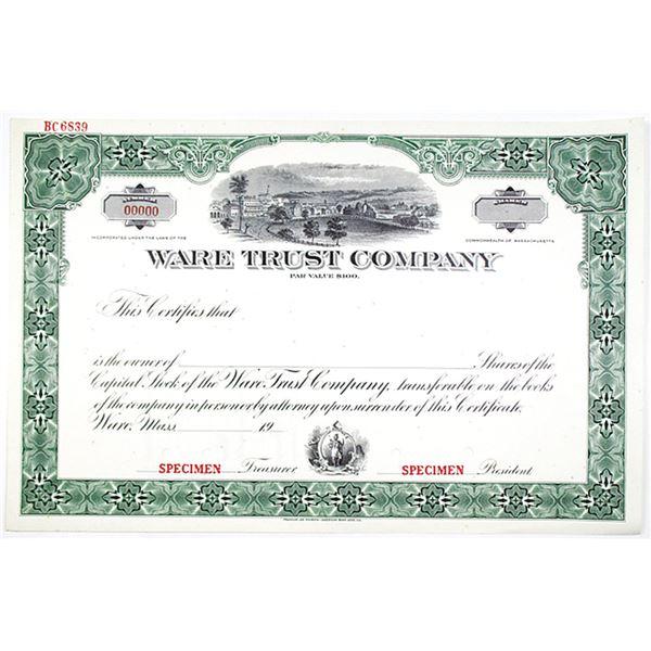 Ware Trust Co., 1920-40 Specimen Stock Certificate